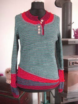 3 in 1 Casual Plus Size Buttoned Color-Block Knitted Tops Sweater