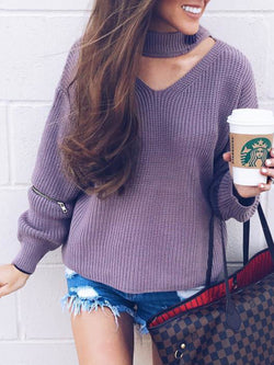 Plus Size Casual Long Sleeve Solid Sweater