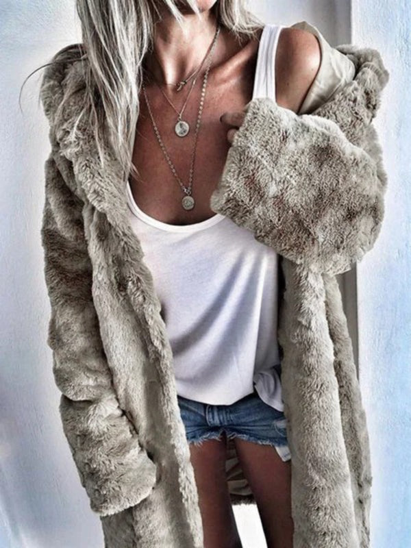 Womens Thick Faux Fur Hooded Parka Long Peacoat Winter Coats Jackets