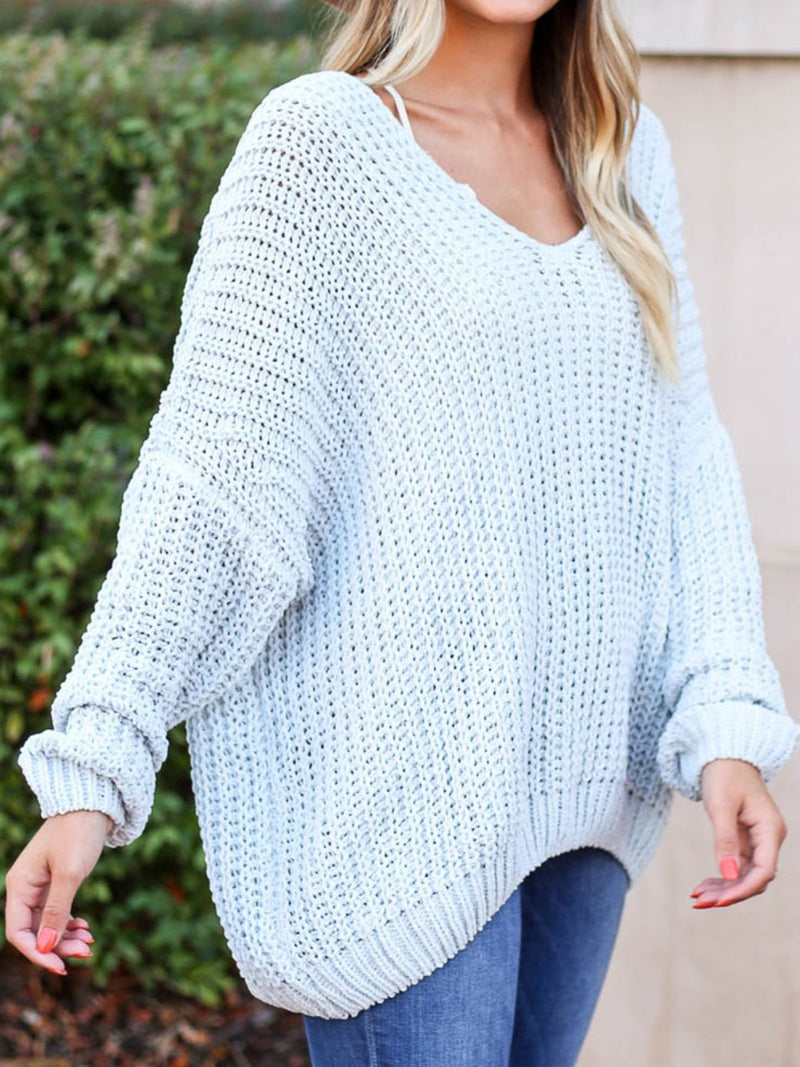 Casual Plus Size  V Neck Sweater Pullover