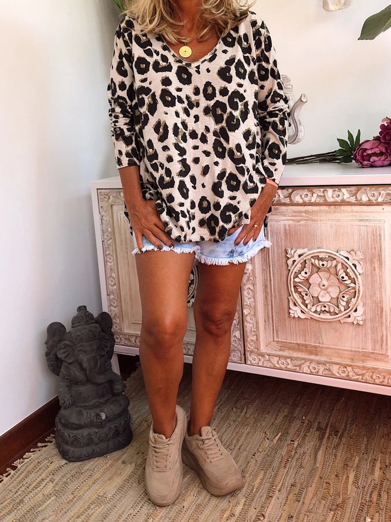 Cotton Long Sleeve Leopard Print Shirts & Tops