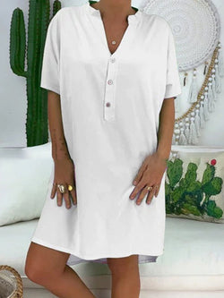 Casual Short Sleeve V Neck Plus Size Dress