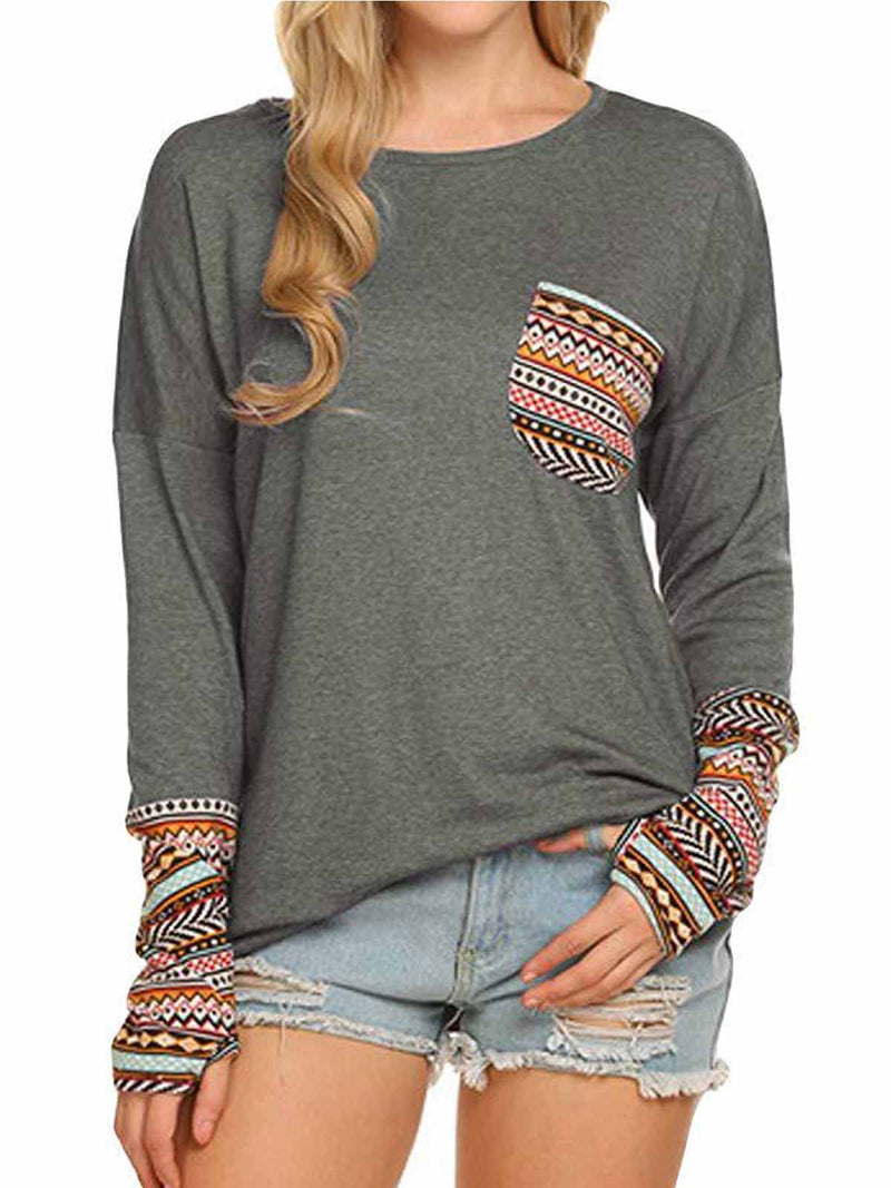 Women's Long Sleeve O-Neck Patchwork Casual Loose Blouse With Thumb Holes