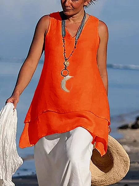 Women Casual Shirts V Neck Sleeveless Asymmetrical Tunics Blouses