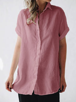 Women Plus Size Short Sleeve Linen Casual Blouse