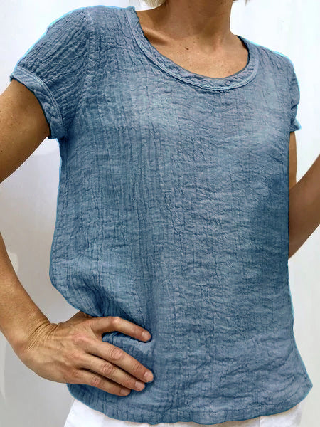 Plain Linen Short Sleeve Casual Blouses