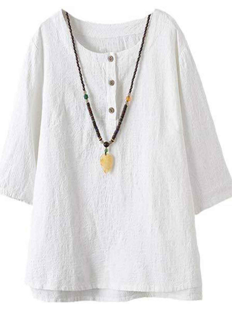 Half Sleeve Cotton-Blend Asymmetrical Casual Shirts & Tops
