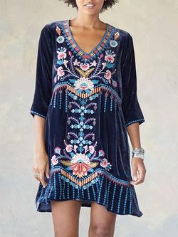 Blue Sweet Cotton-Blend Half Sleeve V Neck Dresses