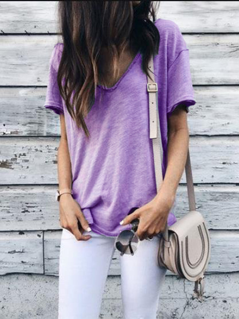 Casual Short Sleeve V Neck Solid Shirts