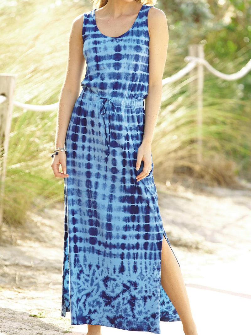 Blue Holiday U-Neck Printed Dresses