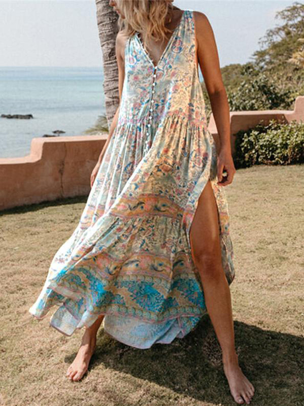 V Neck Casual Floral Maxi Dresses