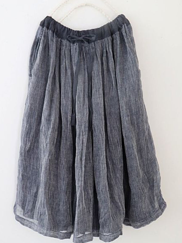 Blue Cotton-Blend A-Line Boho Skirts