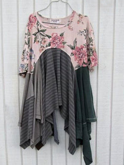 Half Sleeve Floral Print Paneled Asymmetrical Top