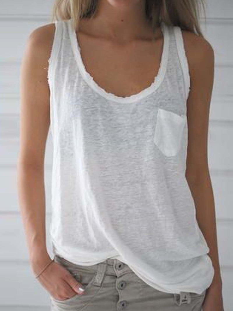V Neck Sleeveless Plain Shirts & Tops