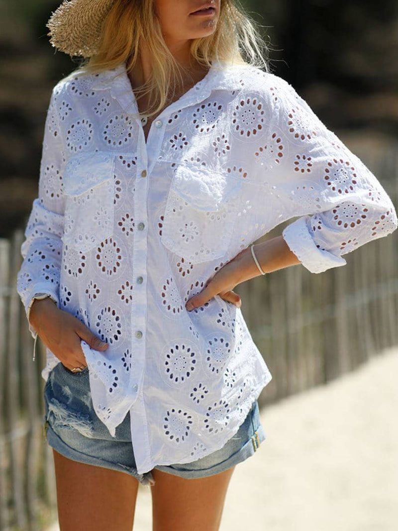 White Casual Long Sleeve Shirts & Tops