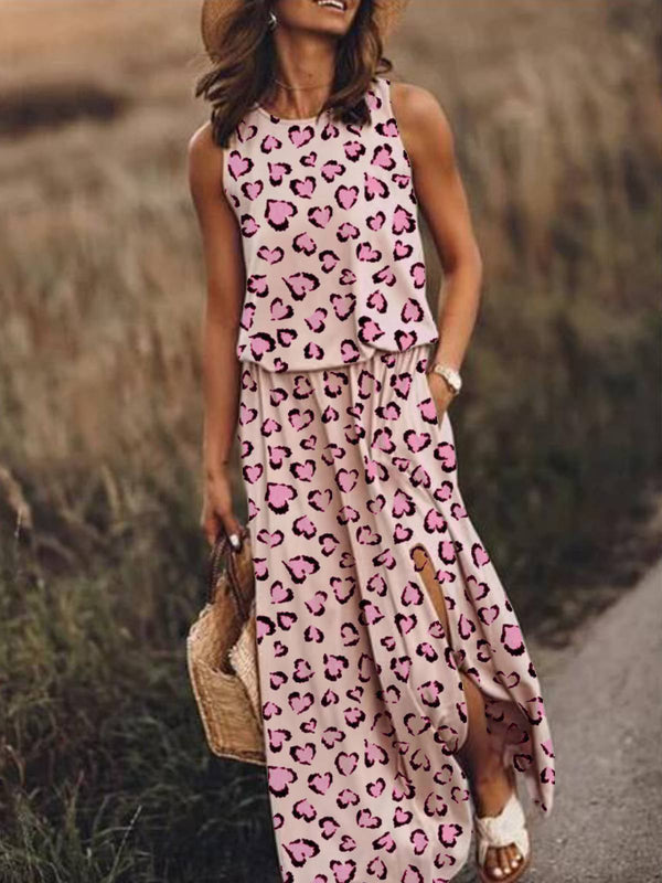 Pink Holiday Leopard-Print Cotton-Blend Round Neck Dresses