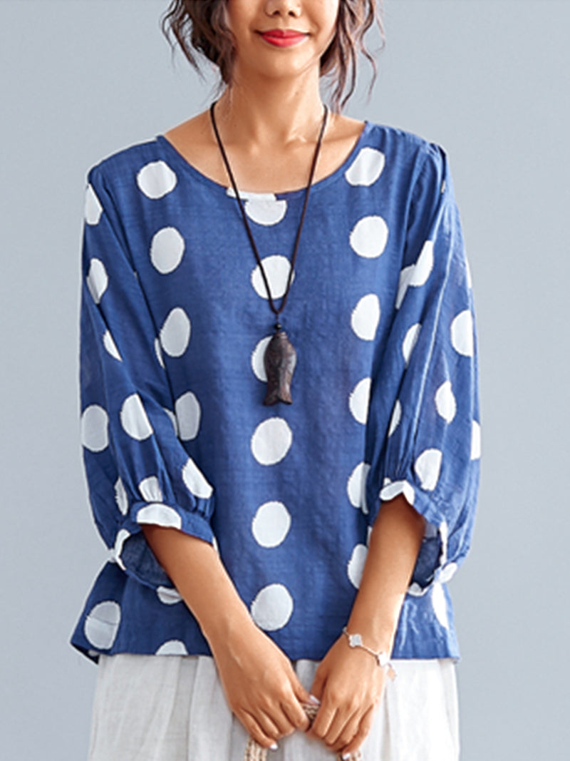 3/4 Sleeve Round Neck Vintage Polka Dots Casual Tops