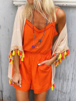 Orange Casual Drawstring One-Pieces
