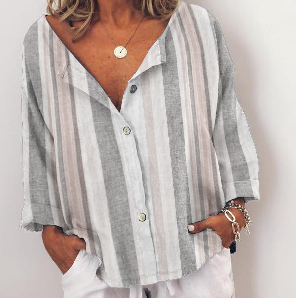 Stripes-Printed Casual Shirts & Tops Plus Size