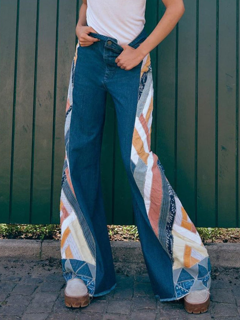 Blue Denim Printed/dyed Casual Pants