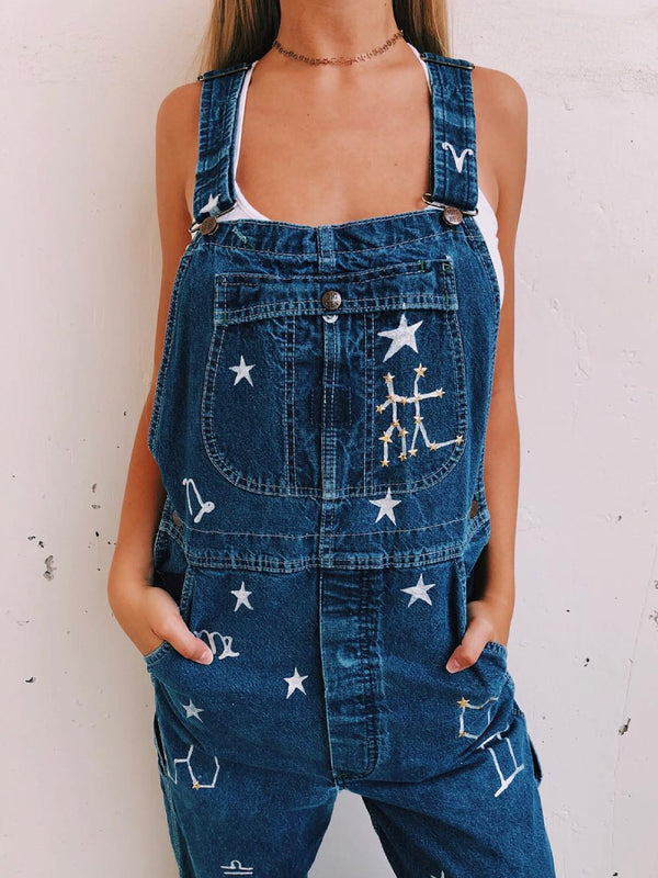 Blue Printed/dyed Denim Sleeveless One-Pieces