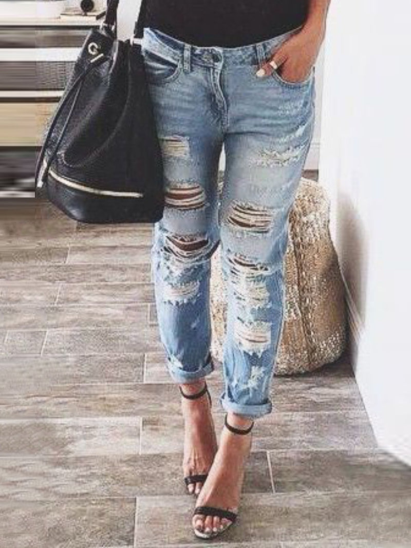 Blue Casual Ripped Denim Pants