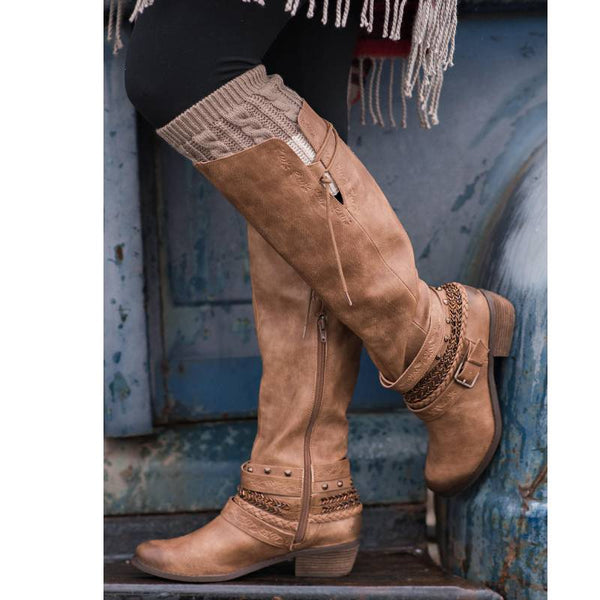 Woman Casual Low Heel Zipper Mid-Calf Boots