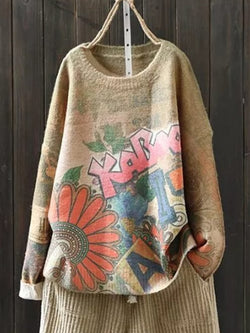Plus Size Long Sleeve Vintage Floral Casual Sweater