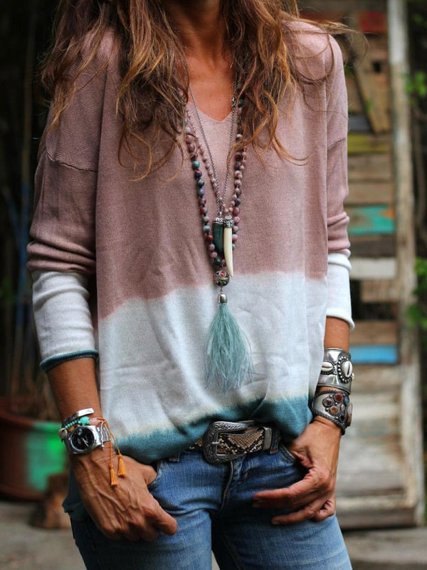 Purple Long Sleeve Ombre/tie-Dye Printed/dyed V Neck Shirts & Tops