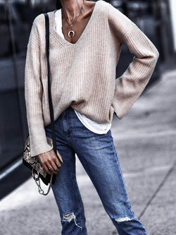 Plain Long Sleeve V Neck Casual Tops