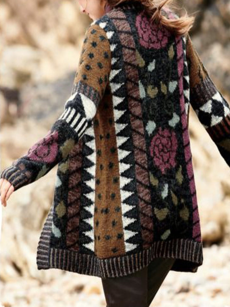 Brown Cotton-Blend Casual Printed/dyed Patchwork Outerwear