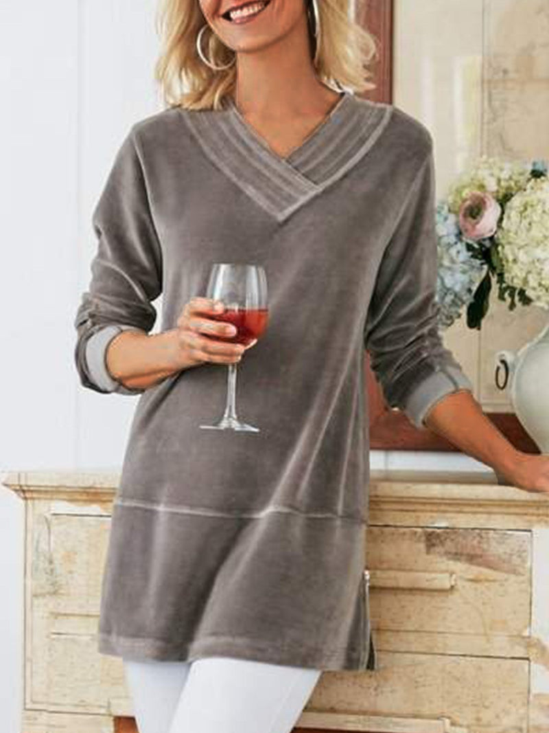 Women's  Casual V Neck  Solid Long Sleeve Shirt & Tops