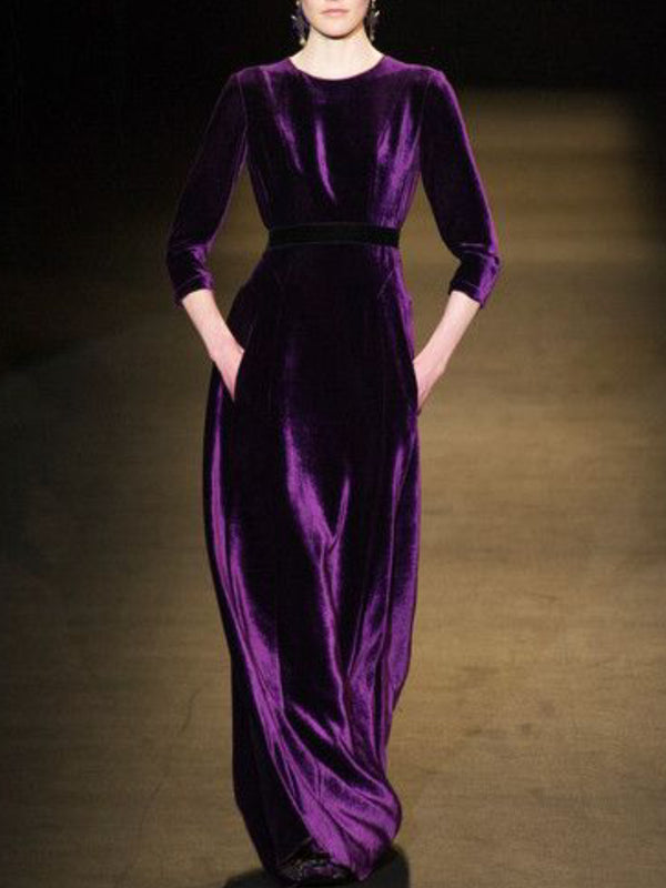 Purple Solid Velvet Long Sleeve Dresses