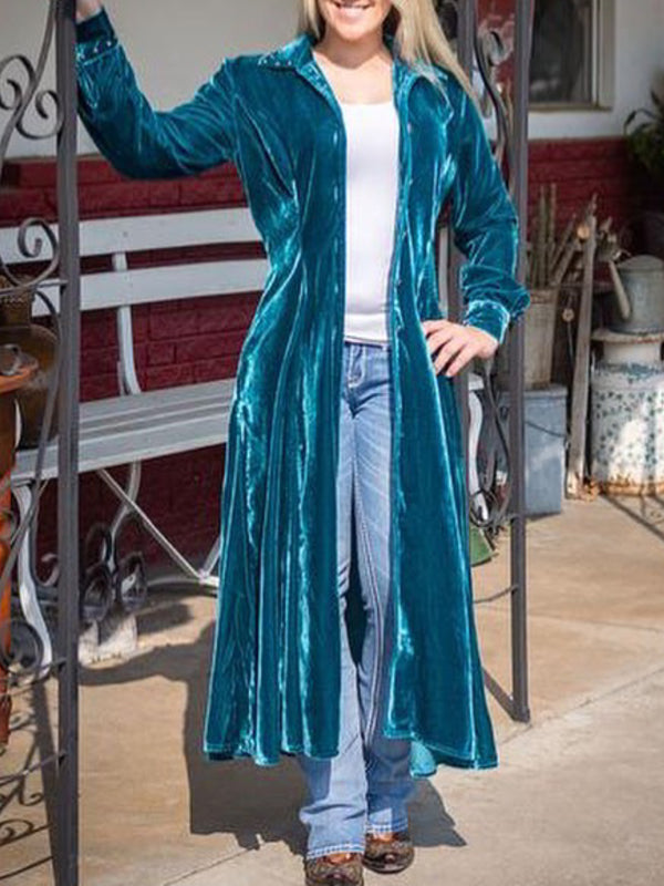 Blue Solid Long Sleeve Velvet Outerwear