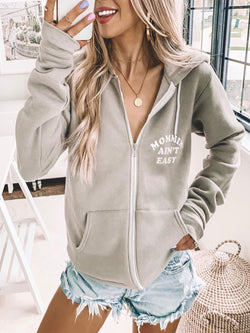 Grey Hoodie Long Sleeve Casual Pockets  plue size  Outerwear