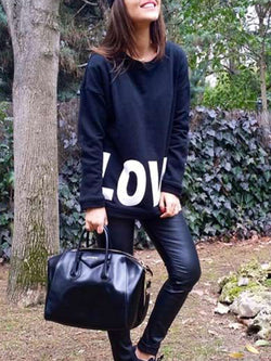 Printed Round Neck Cotton-Blend Long Sleeve Letter Shirts & Tops