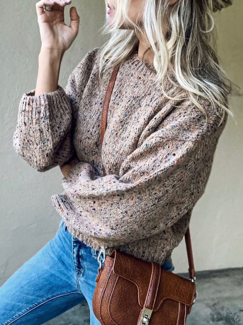 Apricot Long Sleeve Knitted plus size Sweater