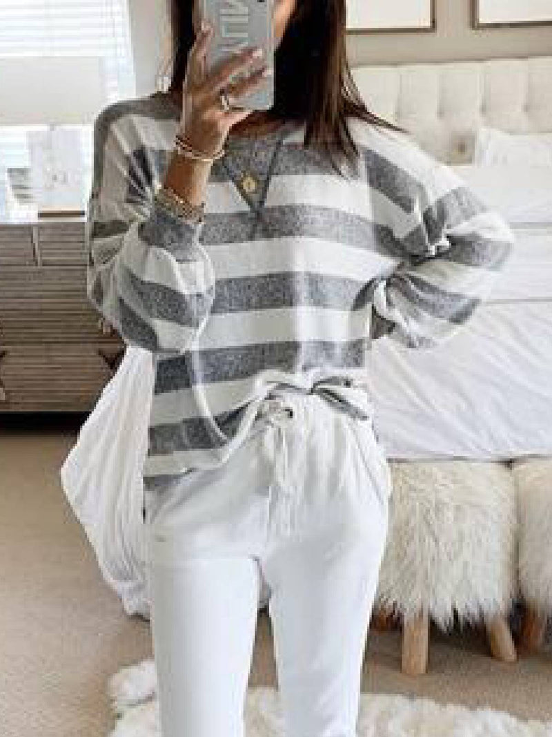 Gray Long Sleeve Knitted Sweater