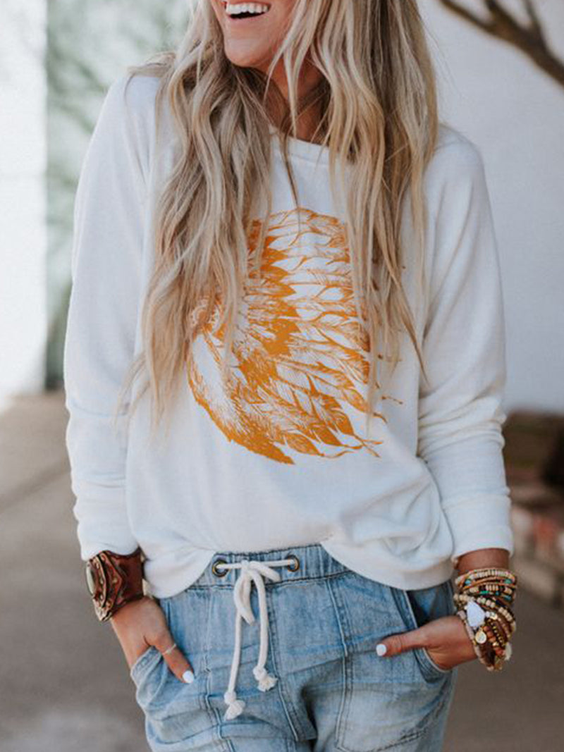 White Patchwork Long Sleeve Round Neck Shirts & Tops