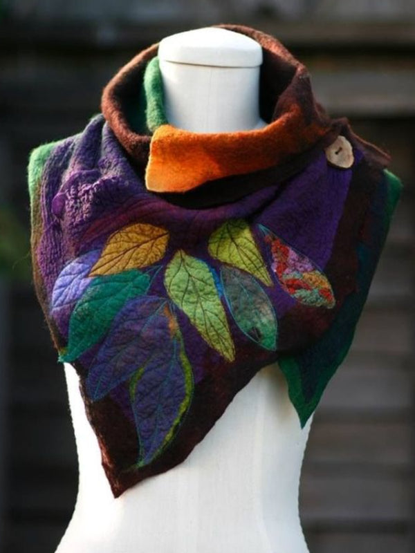 Women Holiday Fahion Vintage Autumn Leaf Print Scarf
