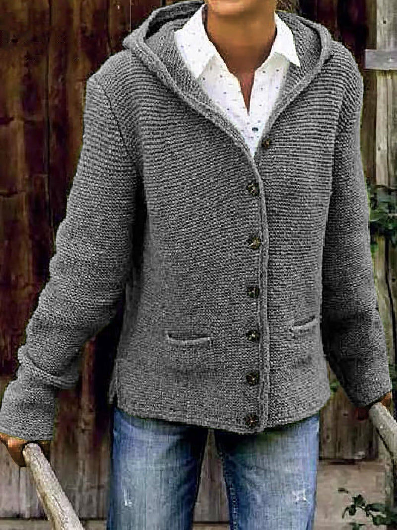 Women Hooded Knitted Cardigan Sweater Outerwear