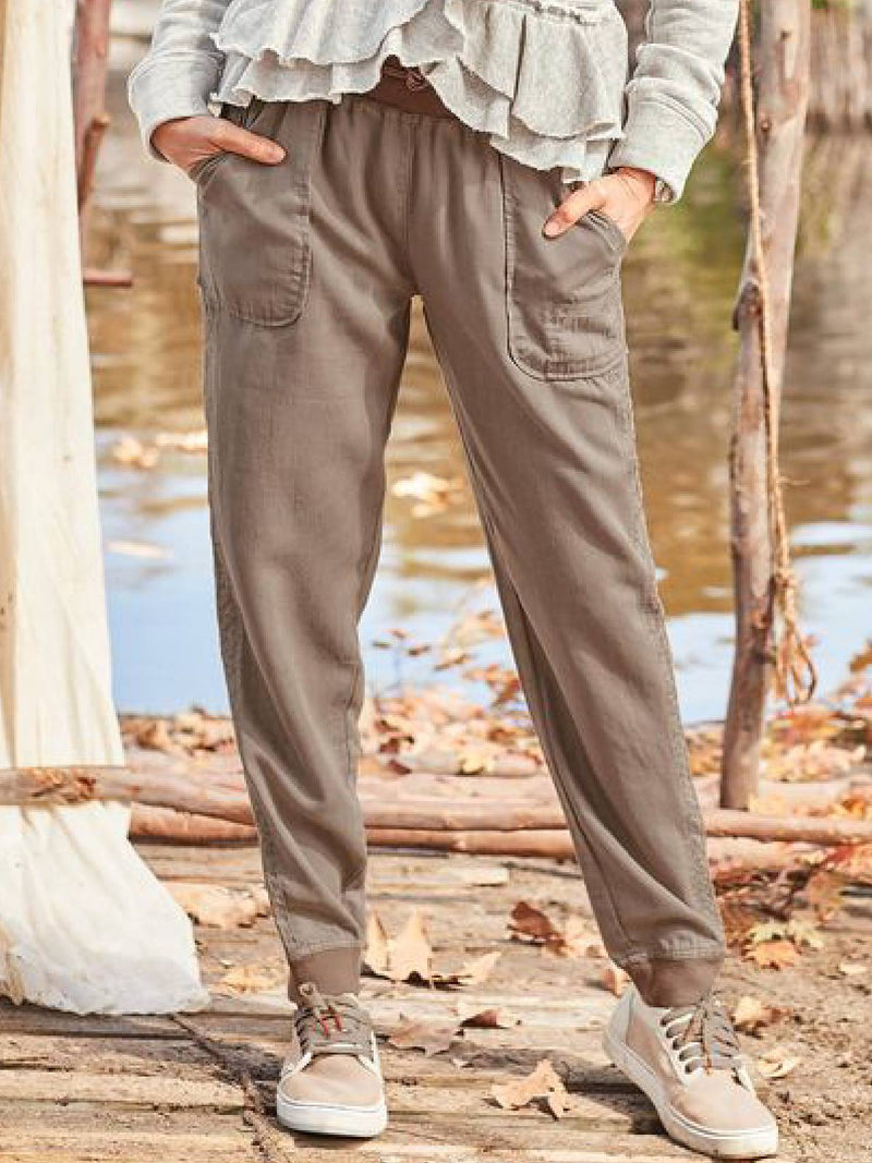 Khaki Vintage Pockets Cotton-Blend Pants