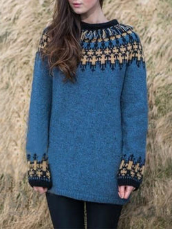 Blue Vintage Printed plus size Sweater