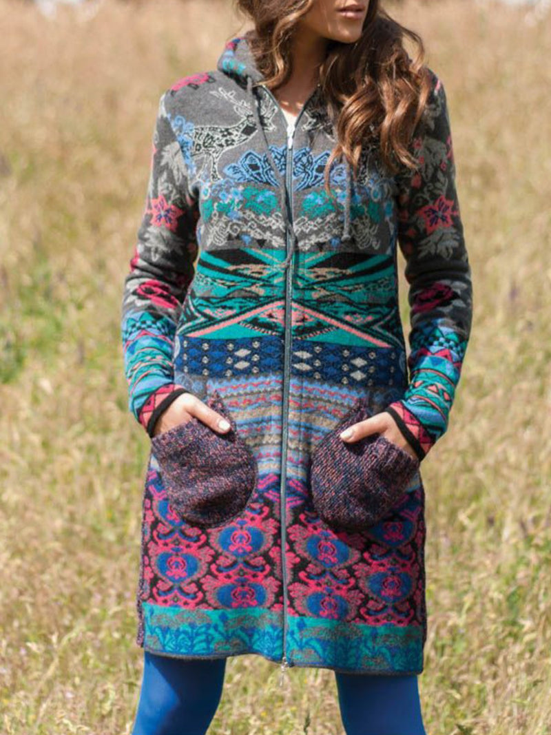 Blue Vintage Color-Block Cotton-Blend Hoodie plus size Outerwear