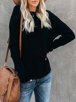 Black Long Sleeve Knitted plus size Sweater