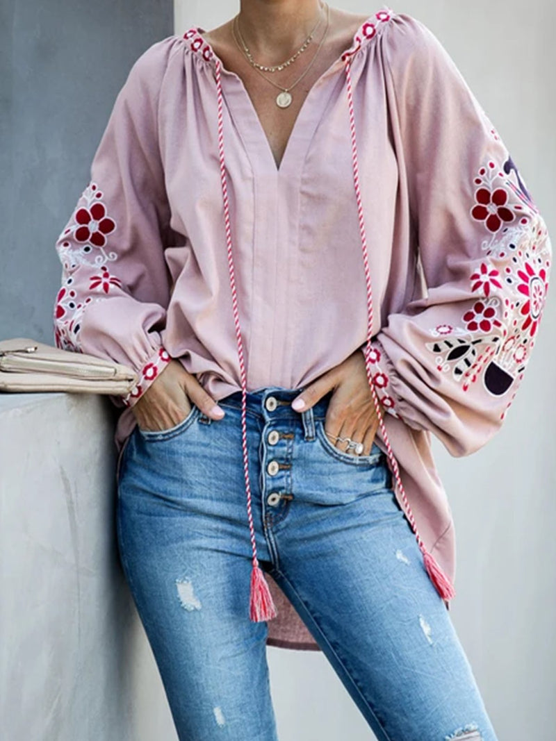 Pink Casual Embroidered Cotton-Blend plus size Shirts & Tops