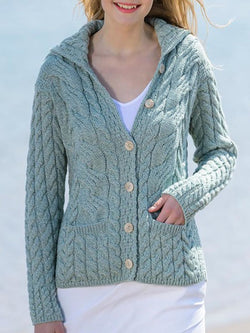 Lightgreen Knitted Long Sleeve Hoodie plus size Outerwear