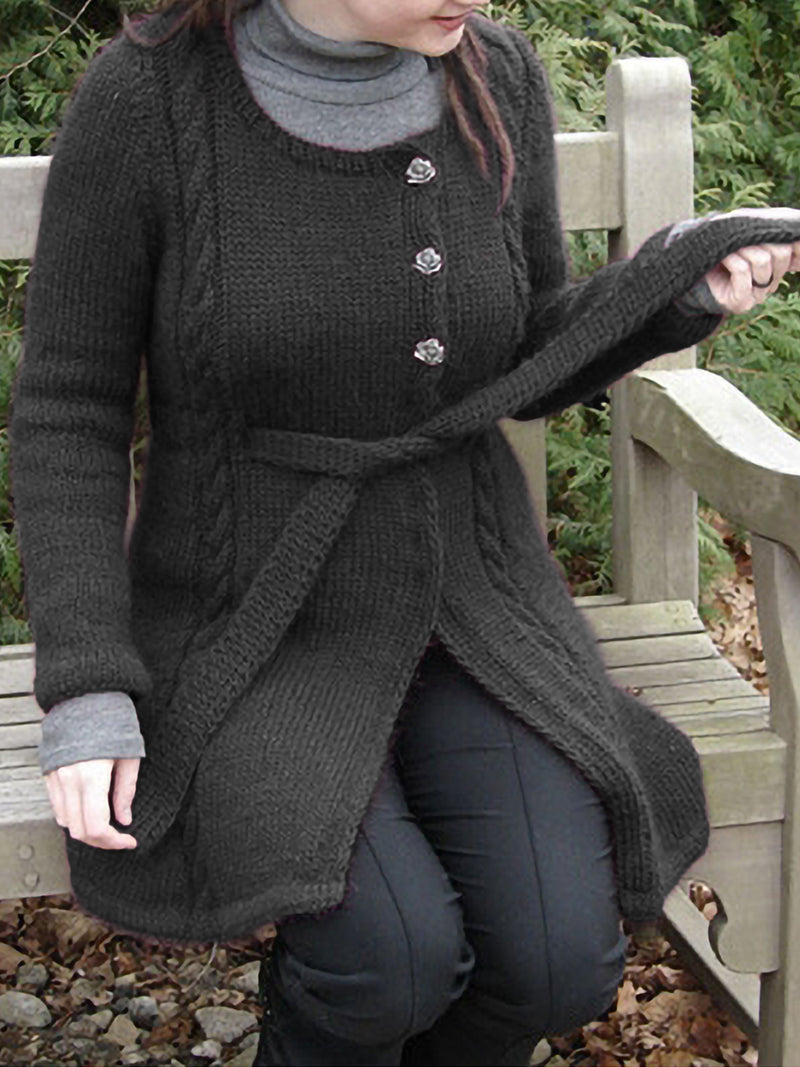 Plus Size Casual Long Sleeve Solid Knitted Outerwear