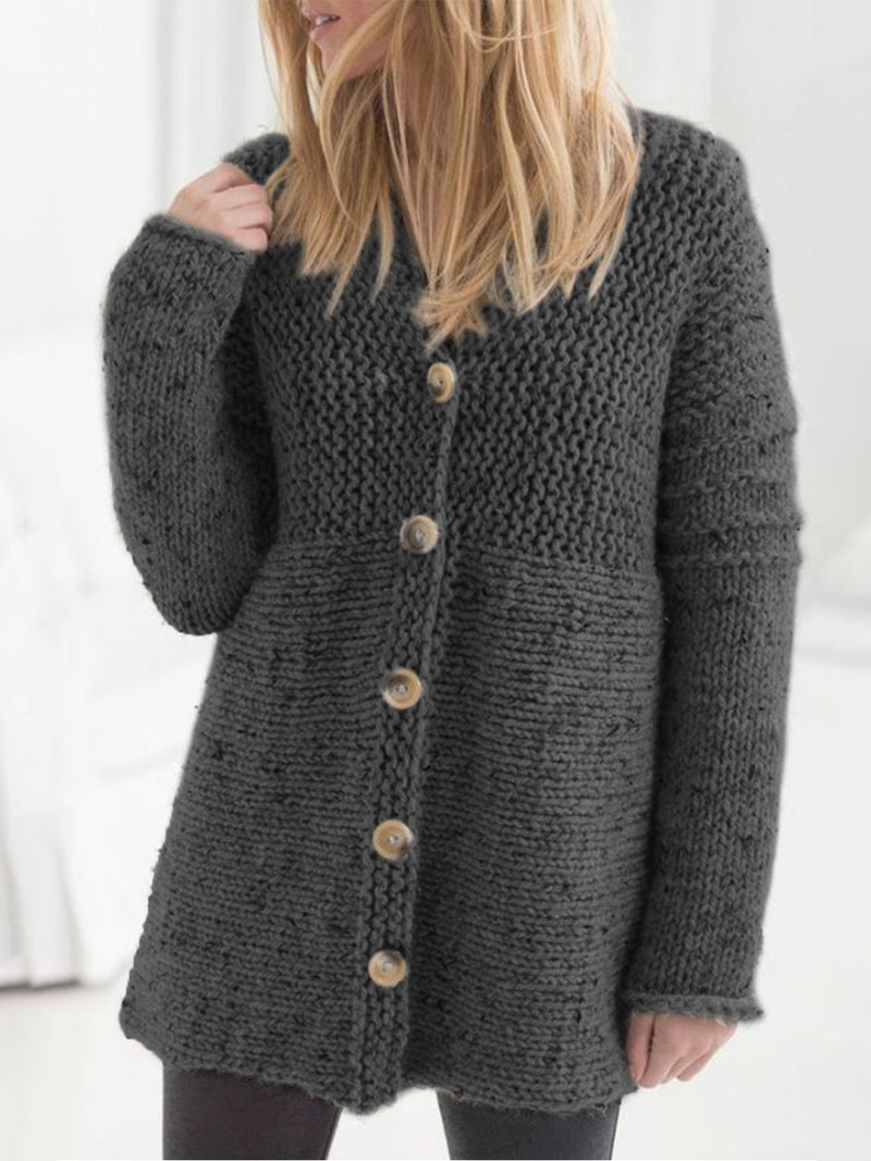 Plus Size Casual Knitted Long Sleeve Outerwear