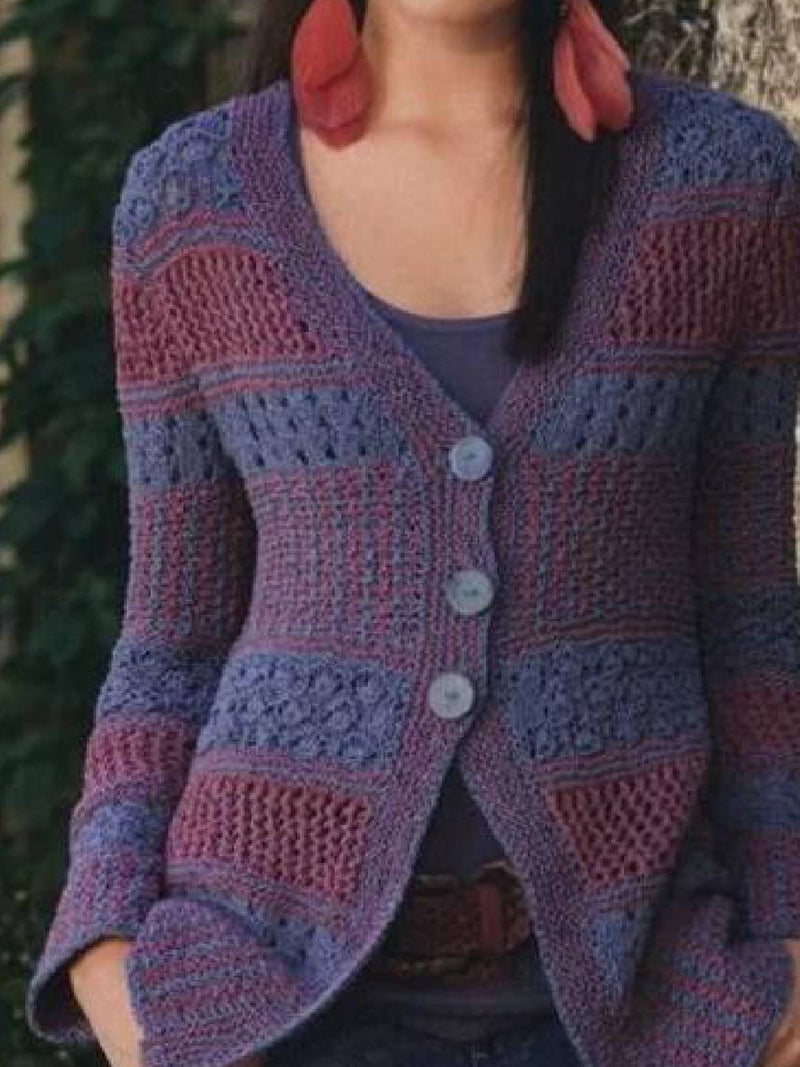 Purple Long Sleeve Knitted Outerwear